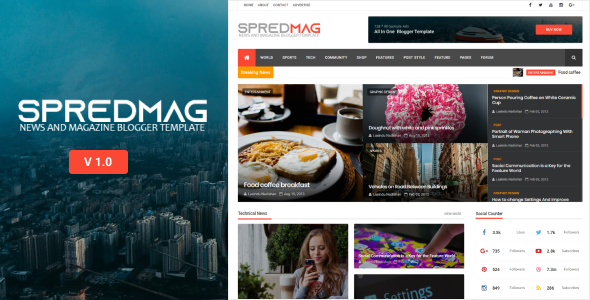 SpredMag Responsive Magazine Blogger Template