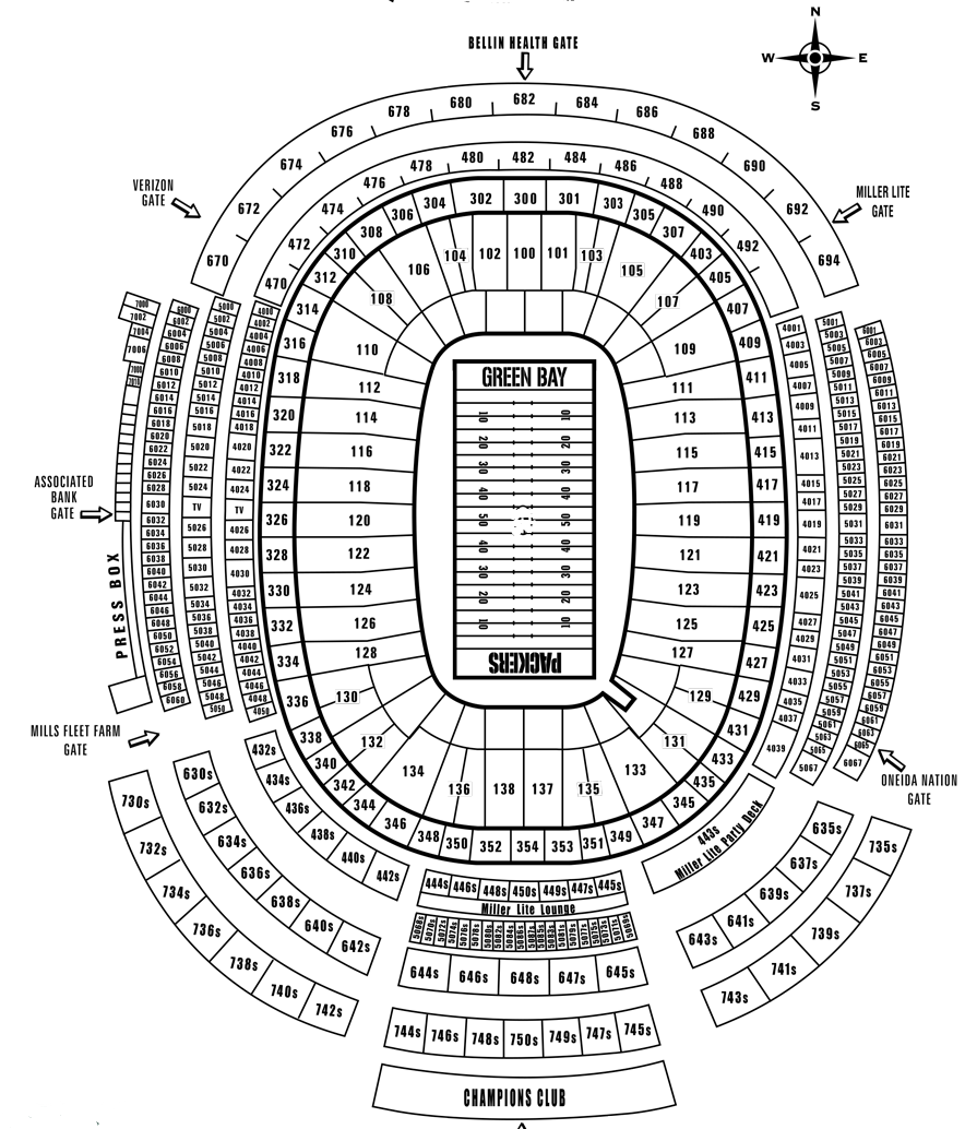 Lambeau Field Seating Map Lambeau Field Tickets | Lambeau Field Seating Chart | Ticket King Inc.