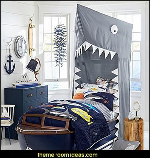 SHARK Cotton Bed canopy  Shark Bedrooms - shark murals - shark bedding  - Shark Decor - shark wall decals - shark theme bedroom decorating ideas - surf shack bedrooms - nautical bedrooms - 3d shark wall decorations - surfing theme bedrooms