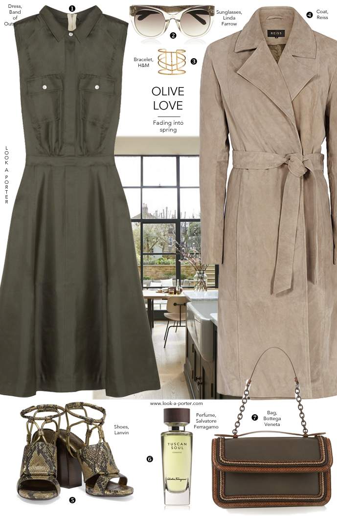 How to style olive colour, suede trench and military shirt dress via www.look-a-porter.com style & fashion blog / outfit ideas daily