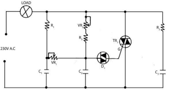 light dimmer circuit using triac and diac
