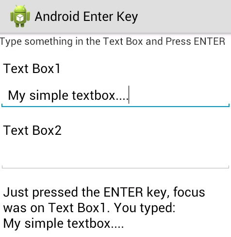 Programmers Sample Guide: Android EditText Enter key Event example