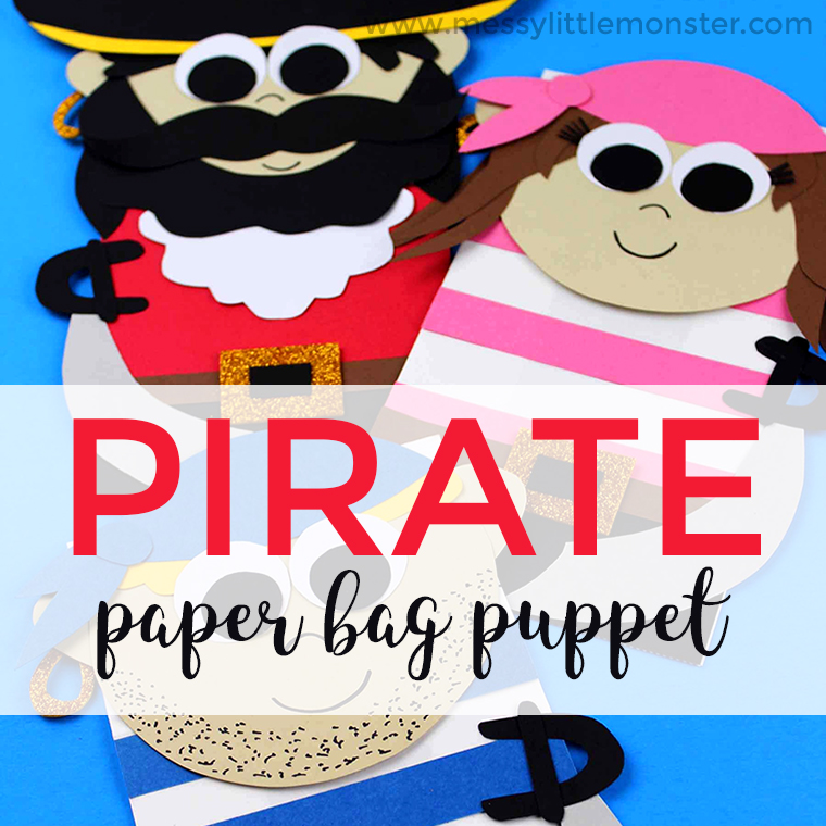 image about Printable Paper Bag Puppets identified as Pirate Paper Bag Puppet - a Enjoyable Pirate Craft for Young children