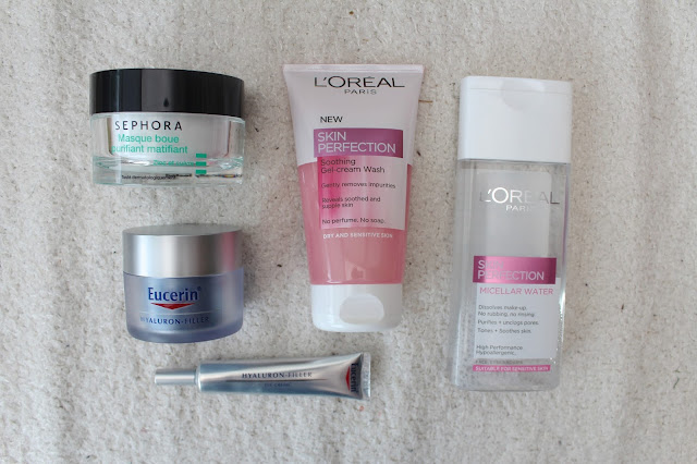 bblogger bbloggers beauty skincare skin sehopra clay mask eucerin hyaluron filler moisturiser eye cream l'oreal skin perfection gel cream wash micellar water face recommendation monthly favourites