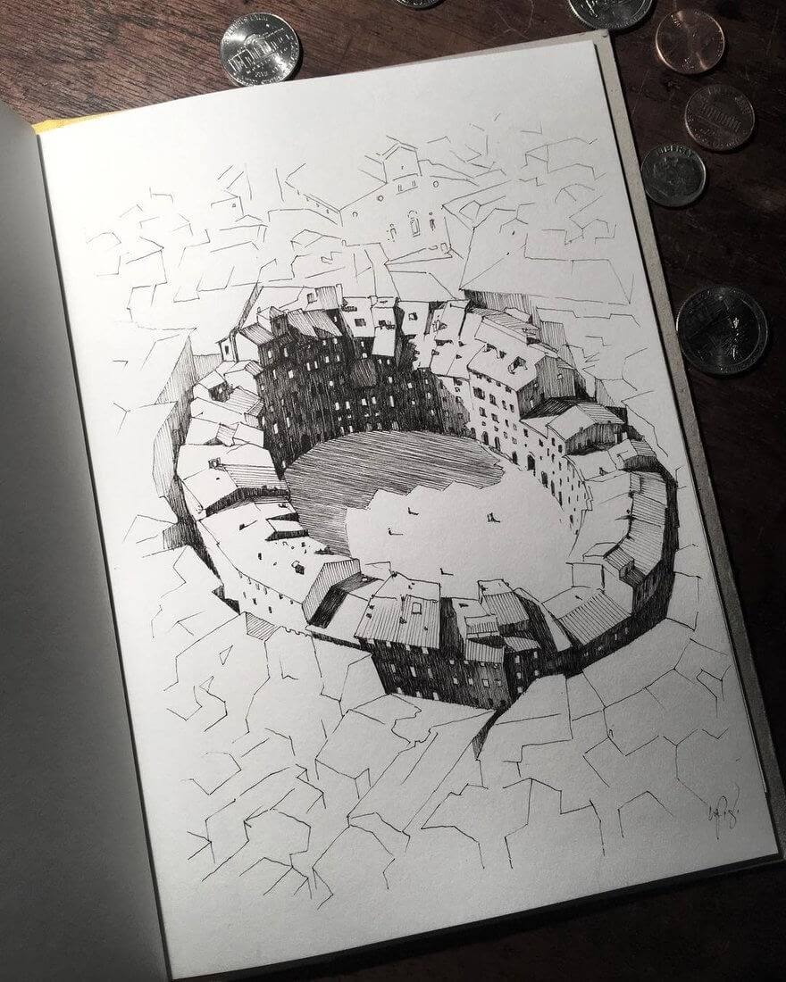 02-Lucca-Anfiteatro-Mark-Poulier-Urban-Sketches-Drawn-on-Site-www-designstack-co