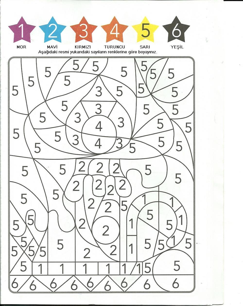 Okul öncesi öğretmeni Bir Ailenin Günlüğü Rakamlara Göre Boyama
