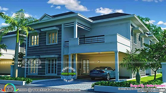 3195 square feet 4 bedroom sober colored sloping roof home