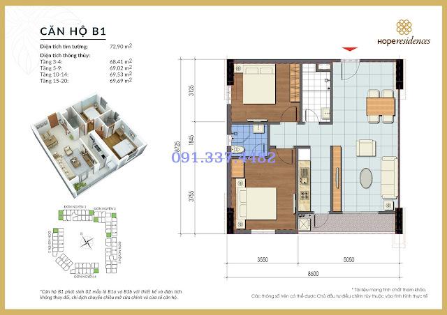 Mặt bằng thiết kế tòa Đơn Nguyên 1 Hope Residences Phúc Đồng