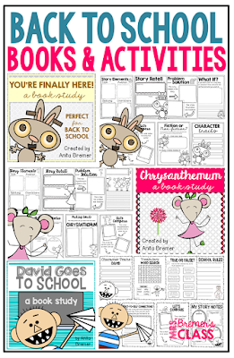 A collection of back to school book study companion activities for young learners. Lots of literacy ideas and guided reading activities for K-2. Common Core aligned. #backtoschool #bookstudy #1stgrade #2ndgrade #literacy #guidedreading #kindergarten #bookstudies