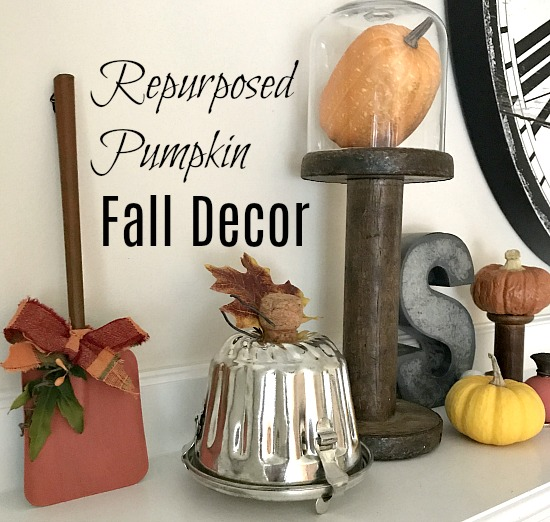 repurposed pumpkins for a mantel