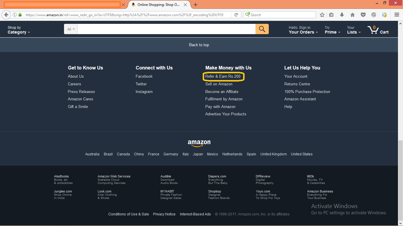 Screenshot Of Refer & Earn Program Of Amazon So How To Make Money