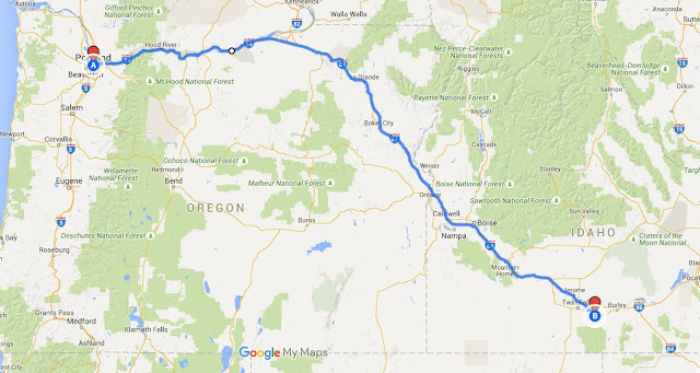 Map: Portland, Oregon to Murtaugh, Idaho