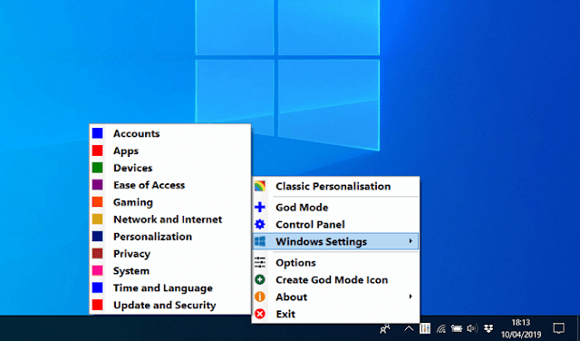 with this new program you can access all sections of windows, some hidden and important from the taskbar