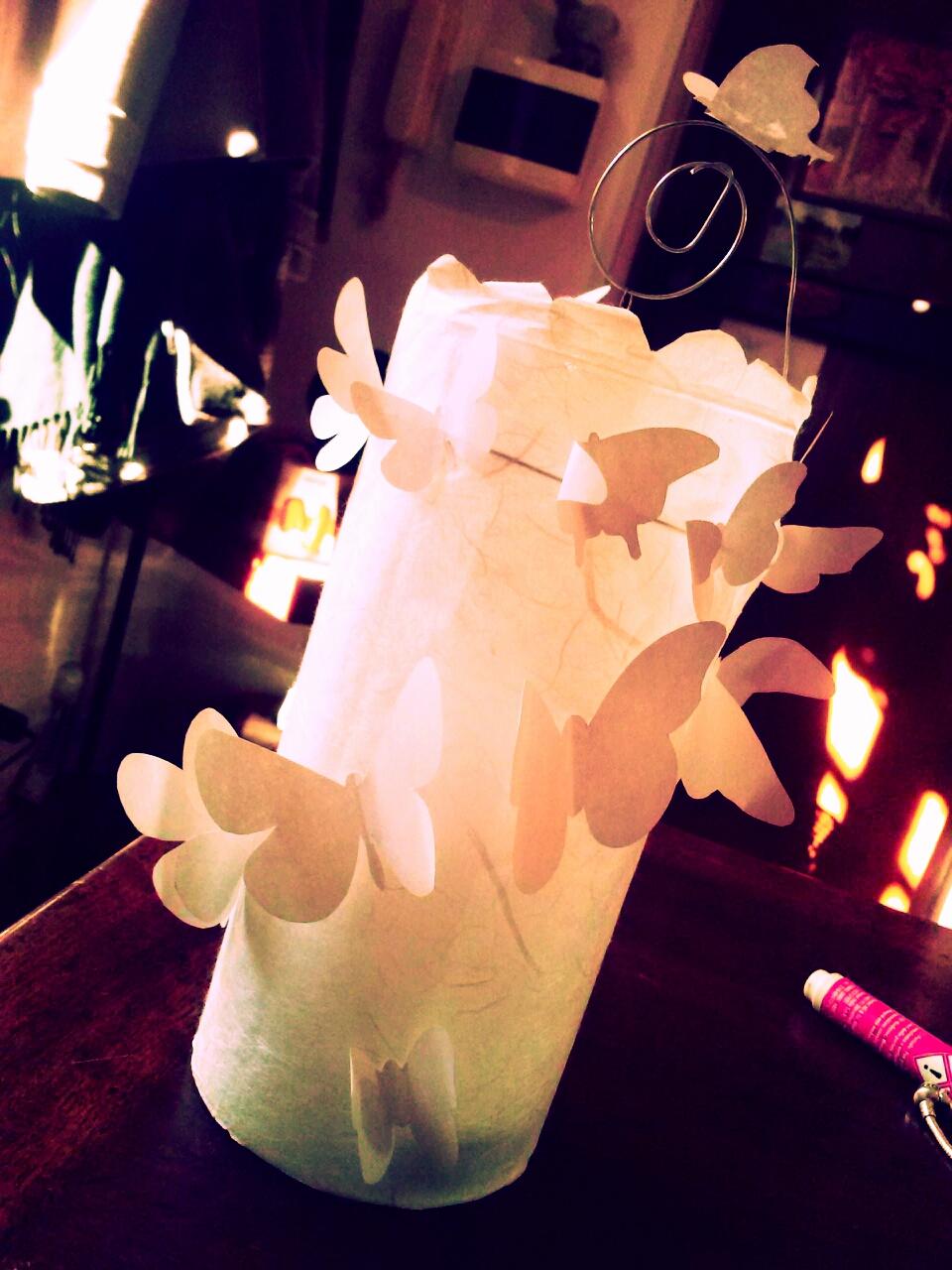 Mamma in cucina.gemma: vaso decorato con carta di riso