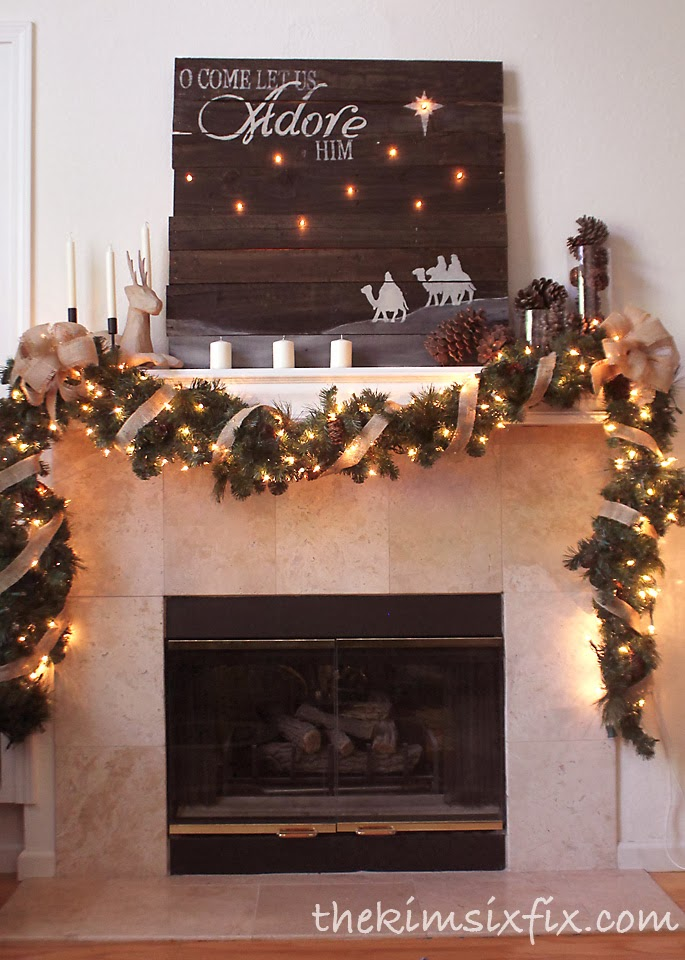 My 2013 Christmas Mantle Features A Simple Rustic