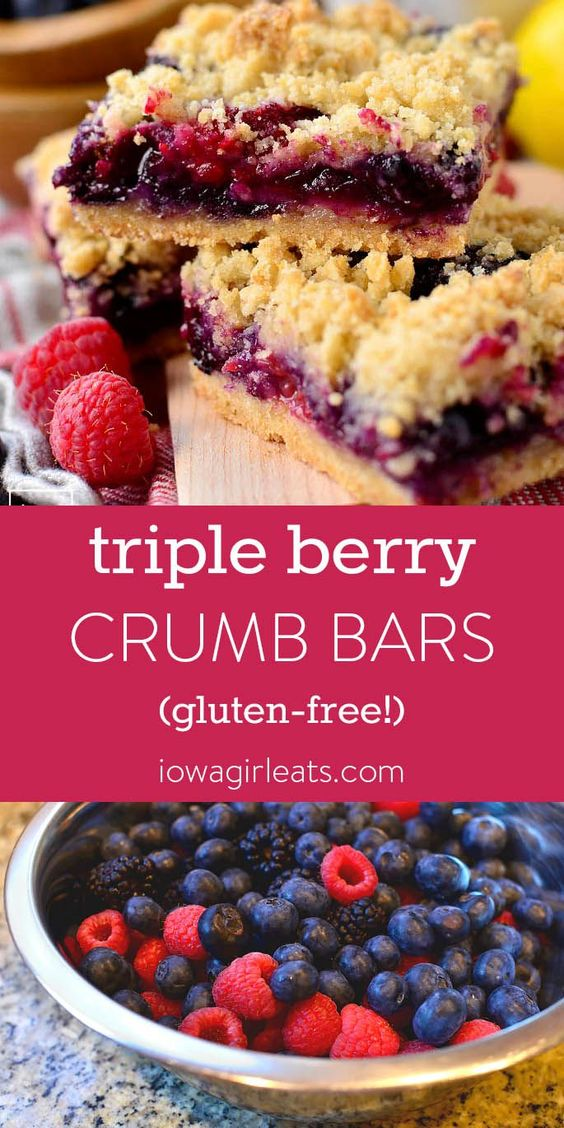 Triple Berry Crumb Bars (GF)