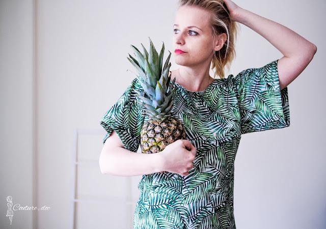 ananas, dżungla, sukienka