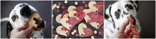 Dalmatian dogs eating heart puzzle homemade dog treats (pink and white)