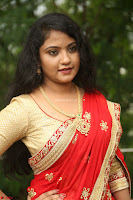 Akshara in Red Saree Golden Choli at LV Movie Makers Production No 1 Movie Opening ~  Exclusive 033.JPG