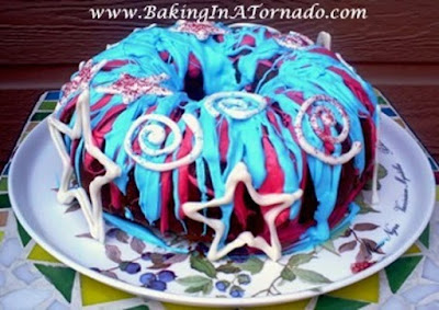 Firecracker Red White and Blue Cake | www.BakingInATornado.com | #recipe