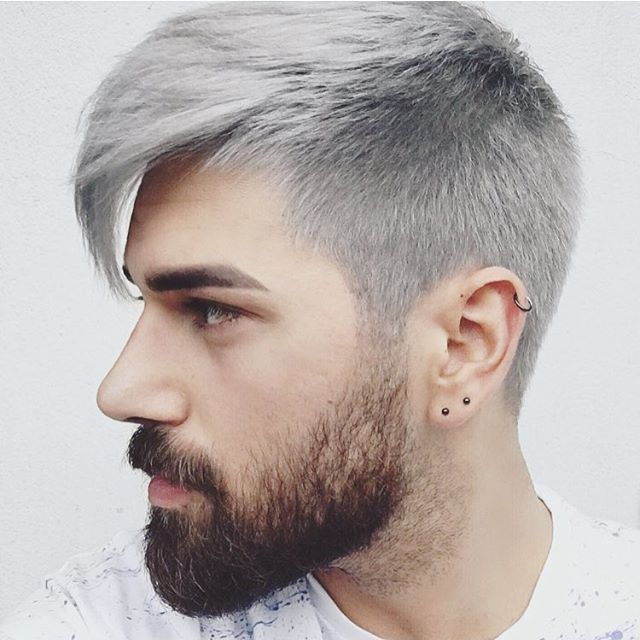 Gray hair color neatly neat down