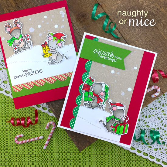 Mouse Christmas Cards by Jennifer Jackson | Naughty or Mice Stamp Set by Newton's Nook Designs #newtonsnook #handmade