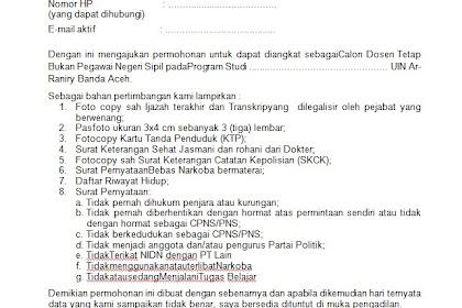 Contoh Surat Lamaran Kerja Doses Tetap UIN Ar-  Raniry Banda Aceh