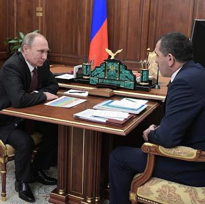 Vladimir Putin meeting with Head of Ingushetia Yunus-Bek Yevkurov.