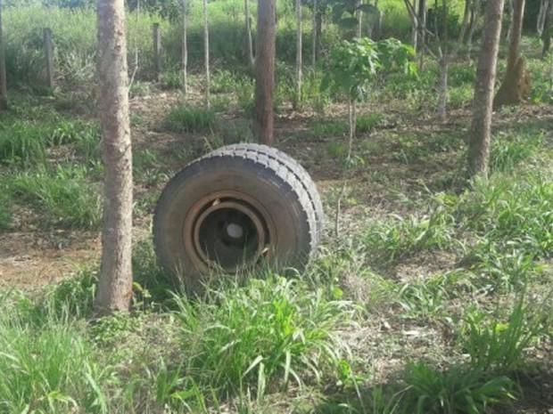 Caminhão carregado com madeira tomba após eixo quebrar