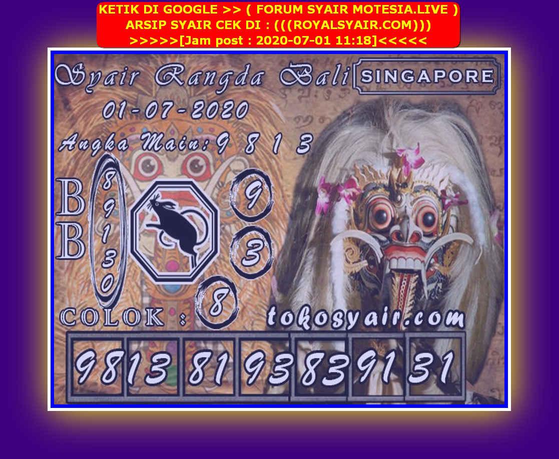 Kode syair Singapore Rabu 1 Juli 2020 109