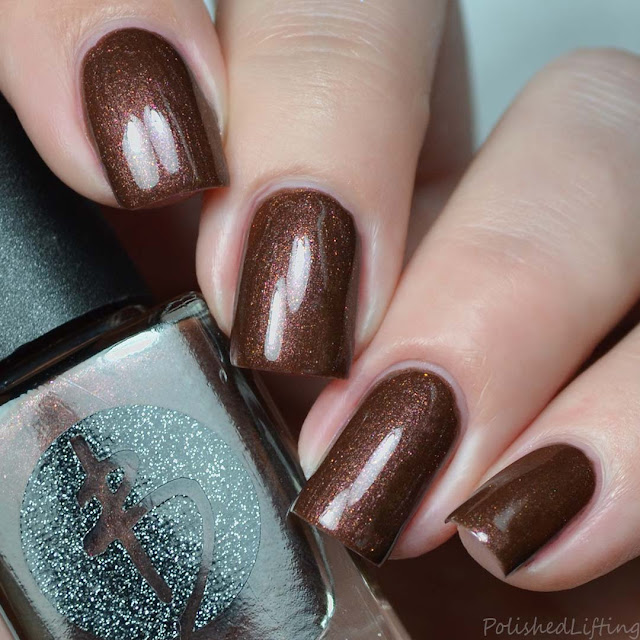 brown nail polish with shimmer
