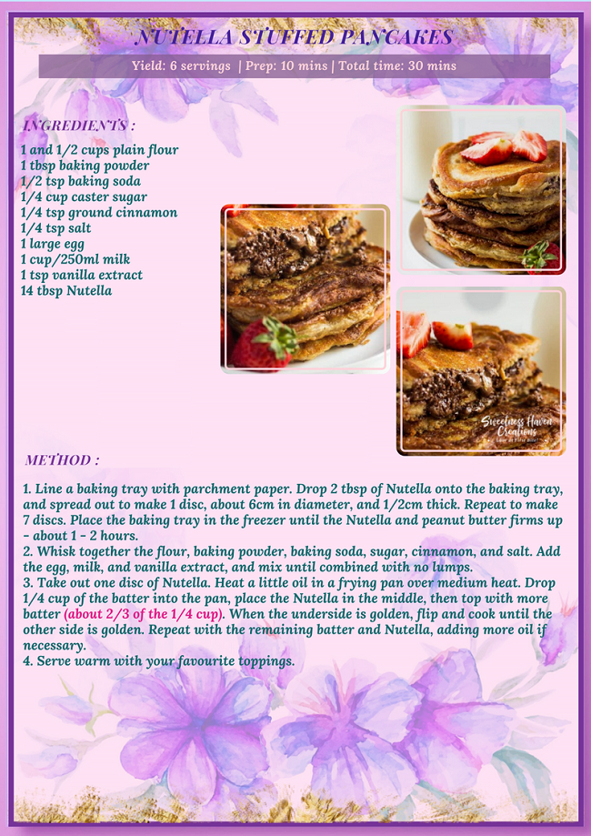 NUTELLA STUFFED PANCAKES RECIPE