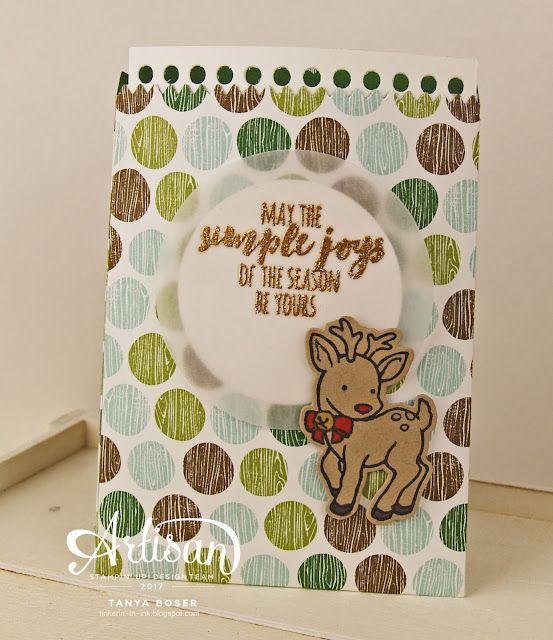 Sweet Mini Treat Bag cocoa packets with Stampin' Up!'s Seasonal Chums and Christmas Pines stamp sets and Coffee Break DSP~ Tanya Boser for Inky Friends