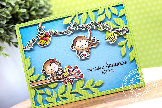 Sunny Studio Stamps: Love Monkey Botanical Backdrop Love Themed Card by Eloise Blue