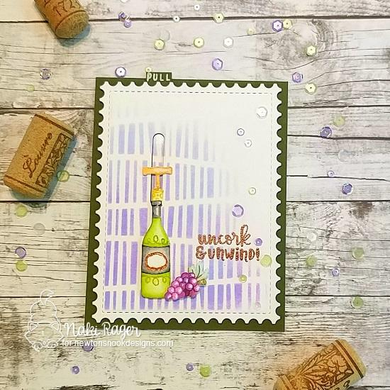 Slider Wine card by Naki Rager | Wine a Little and Coffee & Wine Stamp Sets by Newton's Nook Designs #newtonsnook #handmade #winestamps
