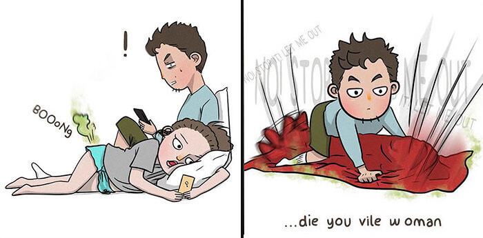 Sincere Illustrations Depict What Relationships Look Like When Partners Get Too Comfortable
