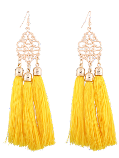 Vintage Alloy Engraved Tassel Earrings - Yellow