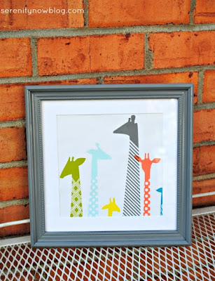 http://www.serenitynowblog.com/2014/03/nursery-wall-art-from-gift-bag-free-diy.html