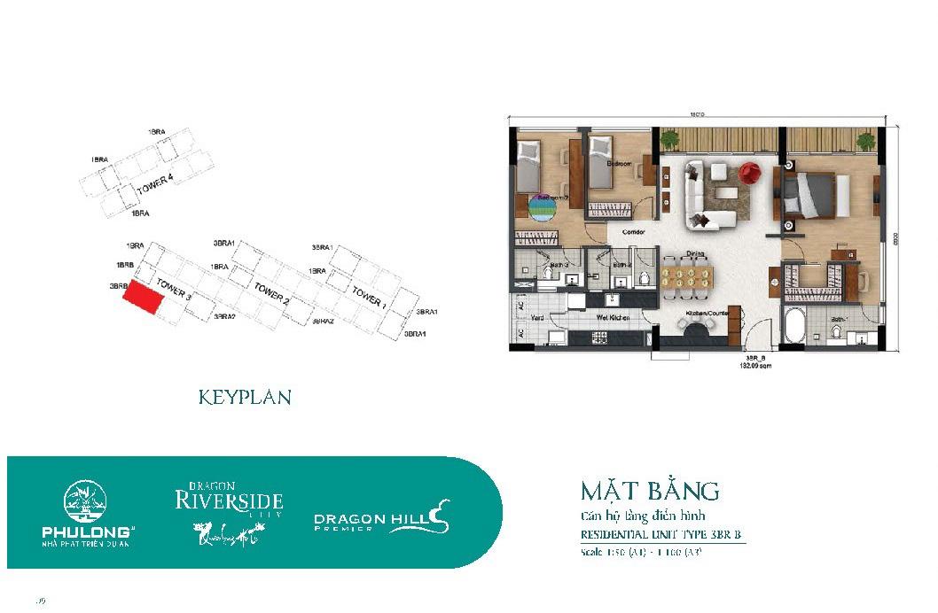Thiết kế căn 3 phòng ngủ 132m2 tại Dragon Riverside City