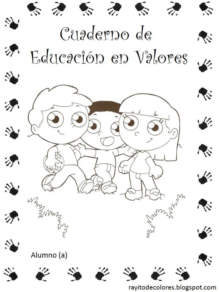 carátula escolar para educación en valores