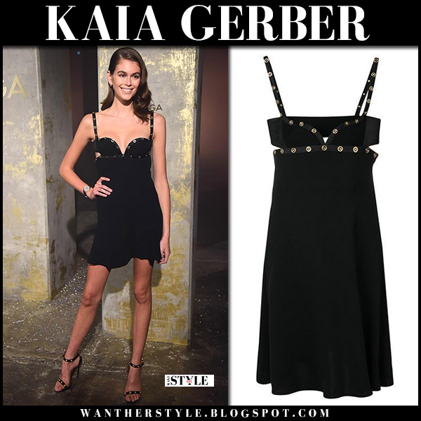 Kaia Gerber in black cut out mini dress and black sandals versace model style may 2