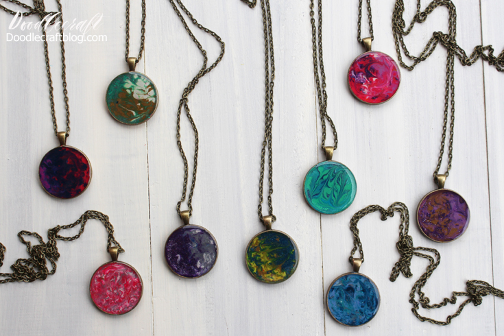Necklace pendant Collection Marble round blue resin