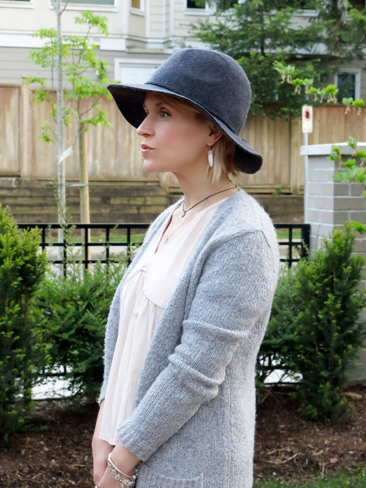 Zara top, long cardigan, floppy hat
