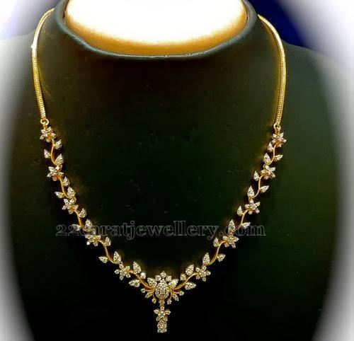 Diamond Necklace Range 1 To 2lakh Jewellery Designs