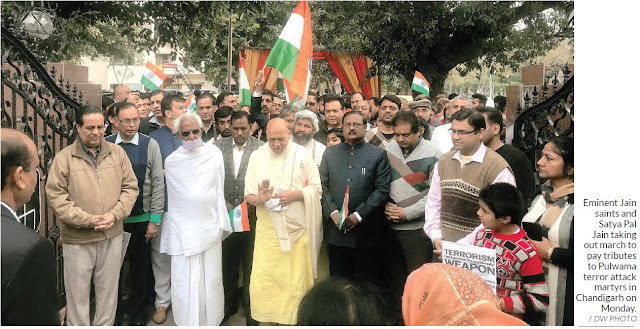 Eminent Jain saints and Satya Pal Jain taking out march to pay tributes to Pulwama terror attack martyrs in Chandigarh on Monday