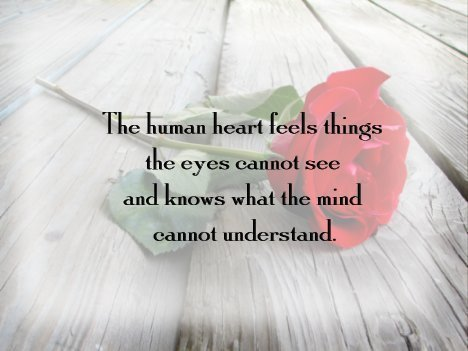 human heart feels things the eye cannot see