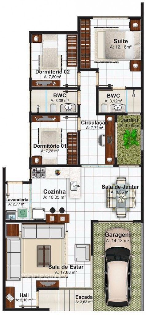House floor plan 113 square meters with 3 bedrooms