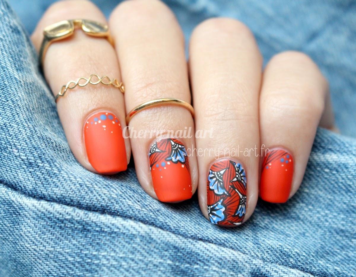nail-art-tissu-wax-coloré