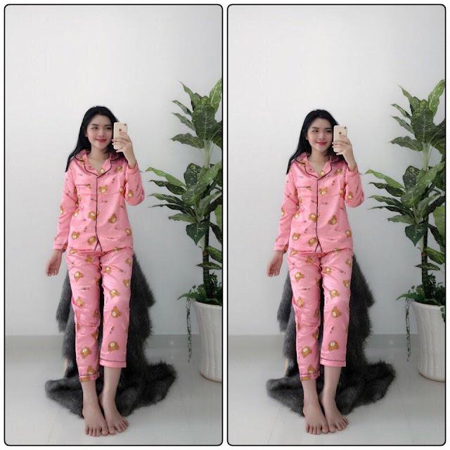 Đồ bộ pijama tay dài quần dài phi lụa ở Tây Ninh