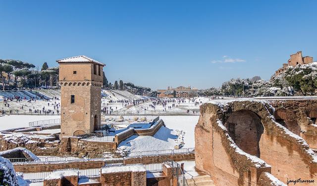 cirque, rome, neige, ruines, romain, italie, italia, italy, hiver, forum romain